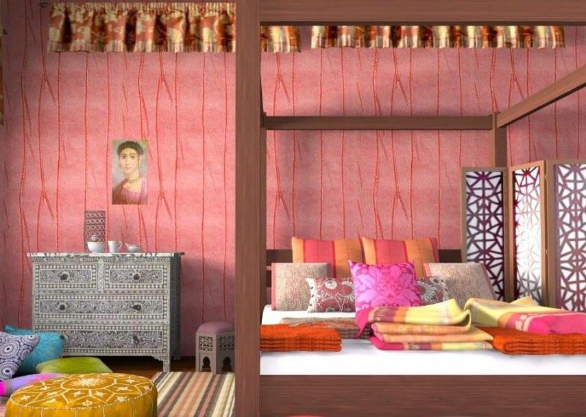 modernes schlafzimmer mit holzbett und farbigen dekokissen-wandtapete rosa