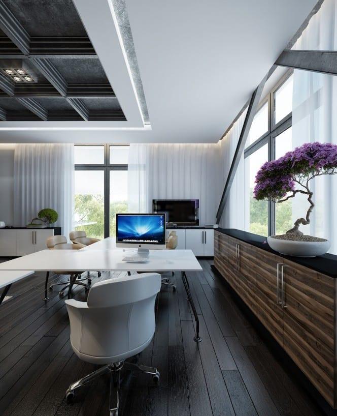 büroausstattung mit weißem Büroschreibtisch und weißen Bürostühlen-Büroschrank mit holzernen Schranktüten-deckengestaltung in schwarz