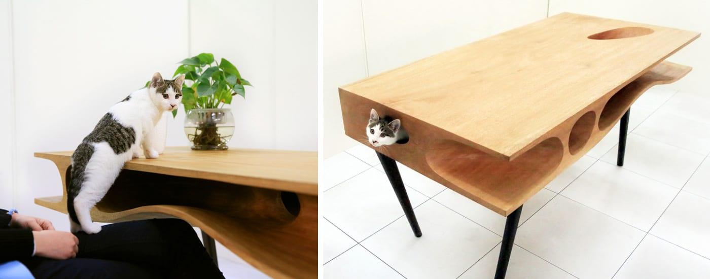 design tisch aus holz- katzen Paradies