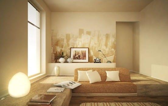 mofernes wohnzimmer gestalten mit sofa im podest-ideen für wandgestaltung