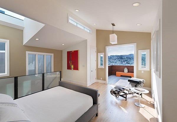 schlafzimmer dachschräge mit terrasse