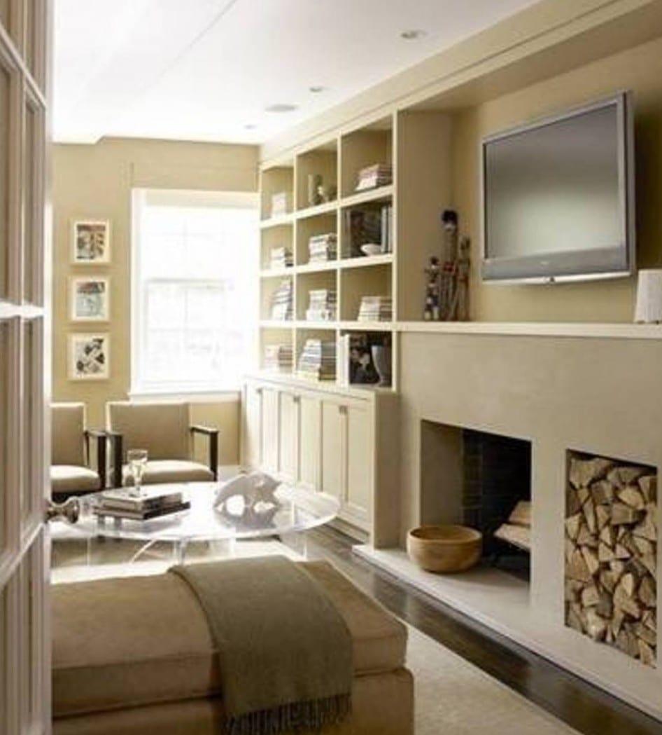 wonzimmer design mit wänden beige-wohnwand beige mit kamin