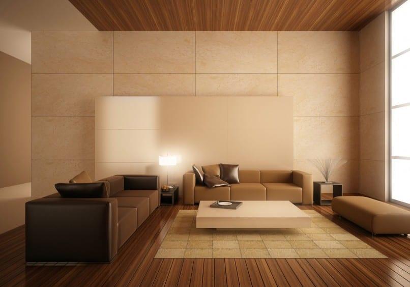 modernes Interior mit dunklen Holzboden und Holzdecke-seats and sofas braun
