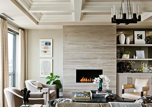 modernes wohnzimmer mit Sichtbetonwand und Kamin-sideboard dekorieren-deckengestaltung