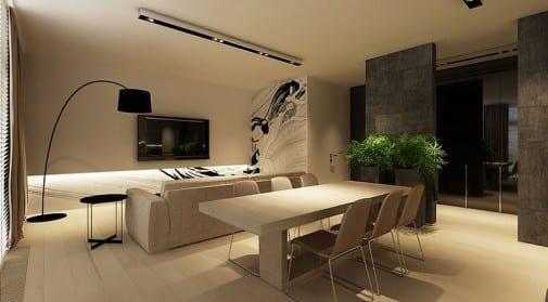 minimalistisches wohnzimmer gestalten mit Natursteinwänden als raumteiler
