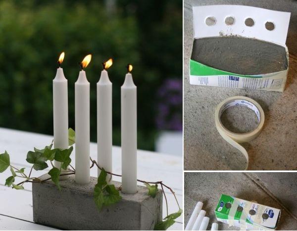 DIY Kerzenhalterblock aus beton