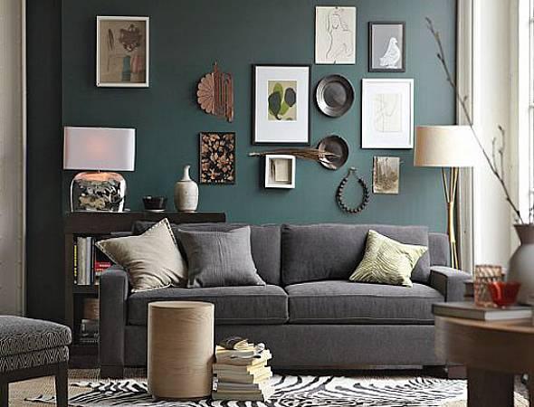 wandfarbe grün-wohnzimmer gestalten mit zebra teppich und grauem sofa