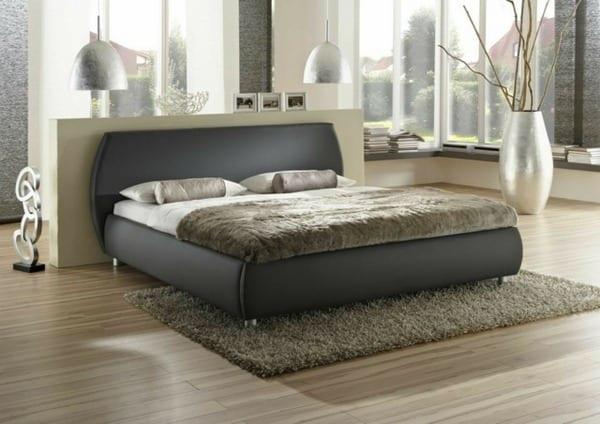 modernes schlafzimmer mit bett schwarz-schlafzimmer dekorieren