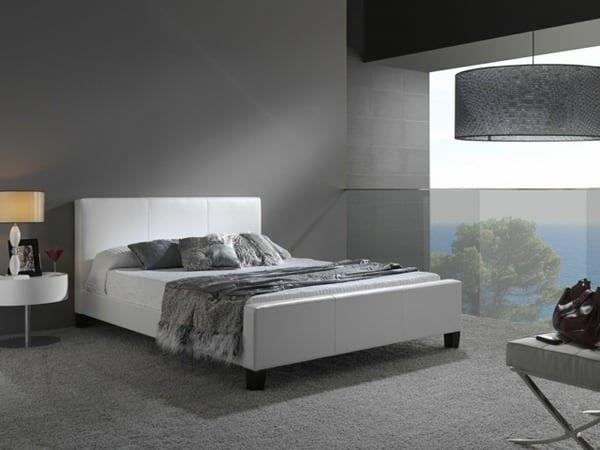 schlafzimmer grau mit wandfarbe grautöne- modernes bett weiß mit bettdecke grau aus samt