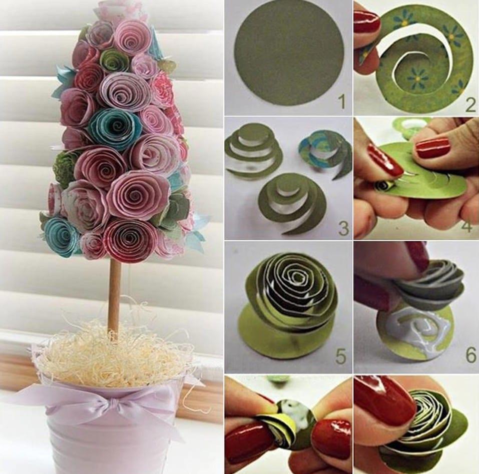 dekorativer baum aus papierrosen