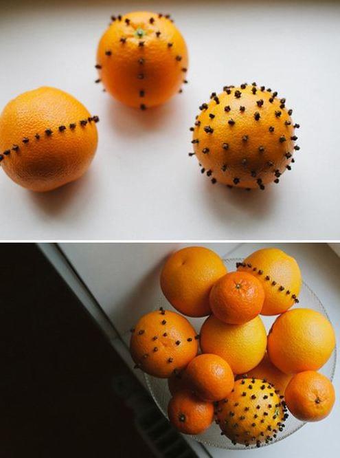 tischdeko aus gestochenen Orangen