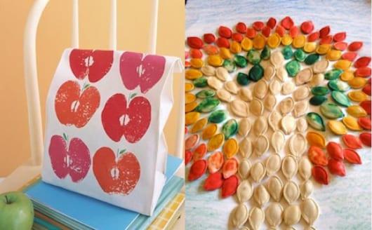 geschenkdeko selber machen mit farbigen Apfelabdrücken