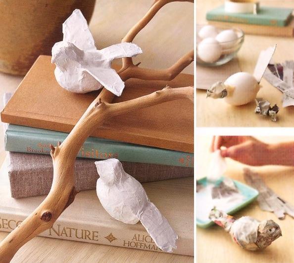 dekorative vögel aus eierschale und papier basteln