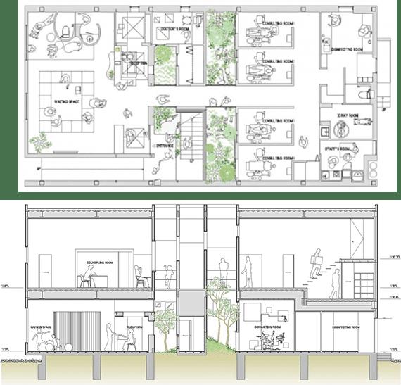 das minimalistische Büro mori x hako- Pläne