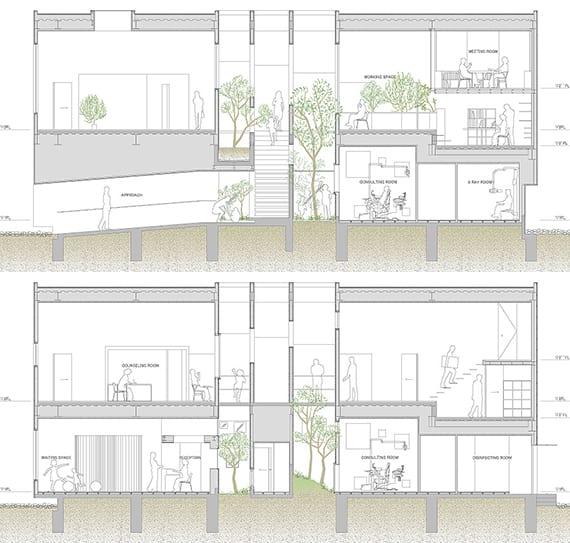 pläne eines japanisches minimalistisches büro