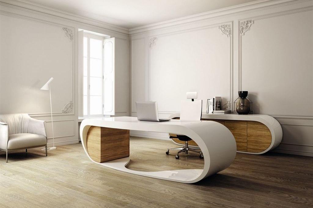 moderne büroausstattung mit weißem büroschreibtisch und Buroschrank aus holz