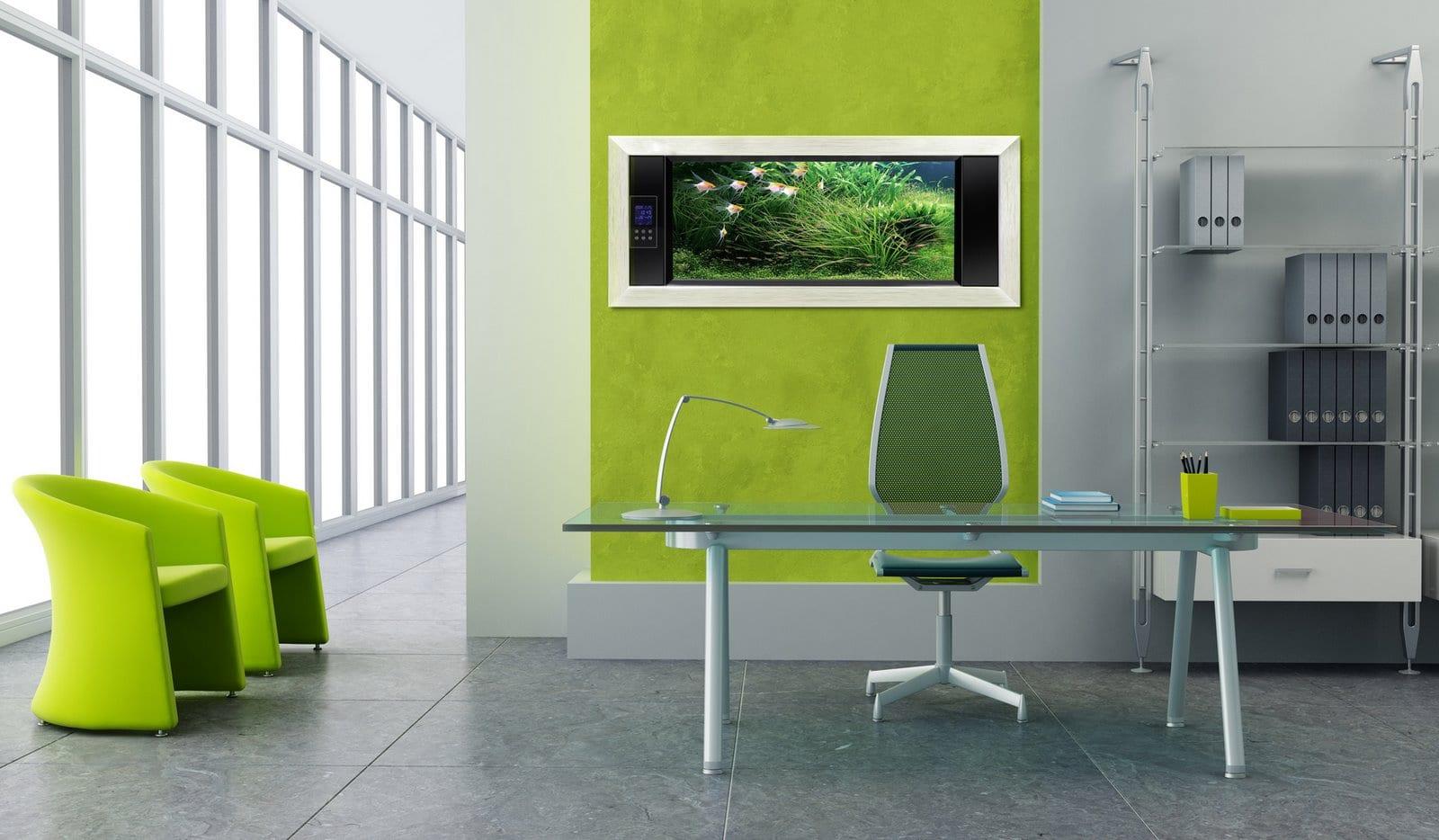 wandfarbe grün-bürosusstattung mit büroregalsystem und büroschreibtisch aus glas-grüne sessel