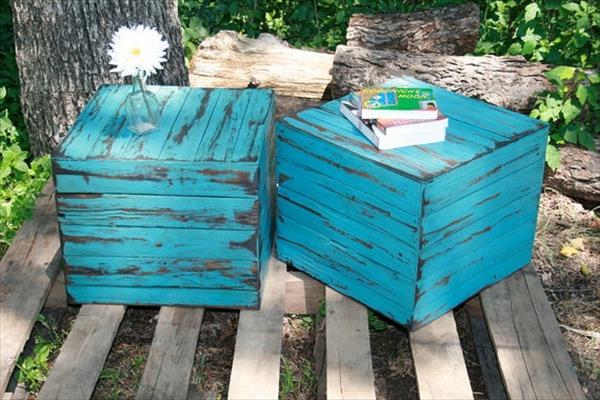 blaue holzhocker - couchtisch selber bauen