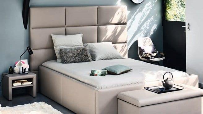 modernes schlafzimmer mit bett und kopfbrett beige-fly moebels
