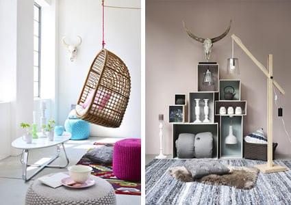 modernes wohnzimmer einrichten-hängesessel-holzstehlampe-polsterhocker