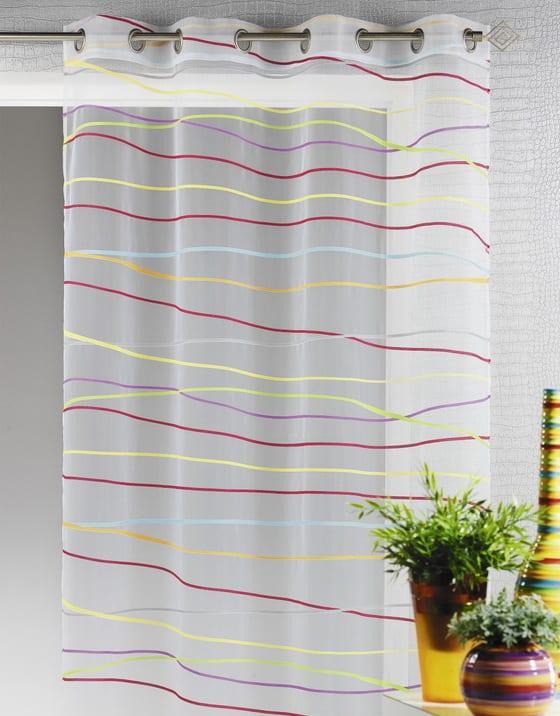 weiße gardinen mit horizontalen streifen in gelb und violett