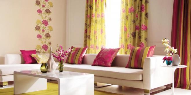 Gardinen dekorationsidee in pink und gelb freshouse for Gardinen pink