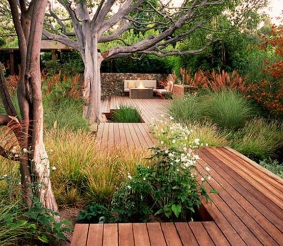 garten ideen-holzterrasse im garten - freshouse - Gartengestaltung Mit Holzterrasse