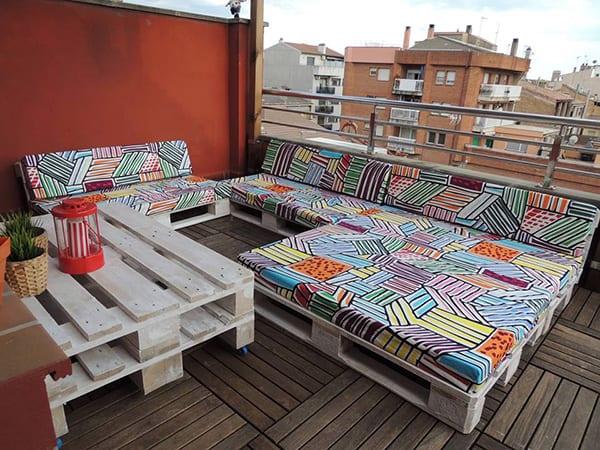 terrassenmöbel aus paletten in weiß