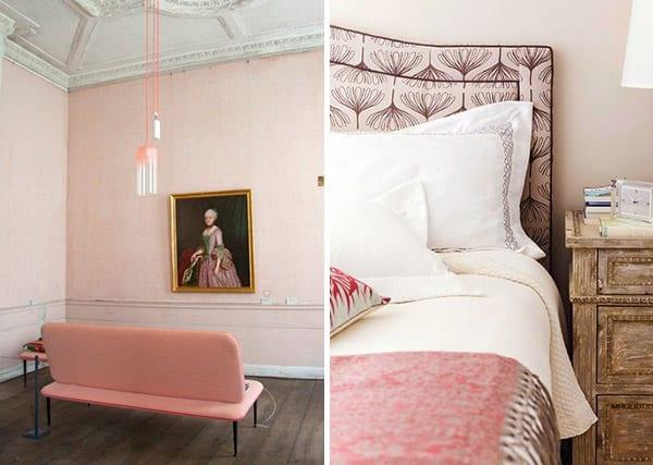 farbgestaltung mit altrosa- sofa und bett altrosa-moderne pendelleuchte in rosa
