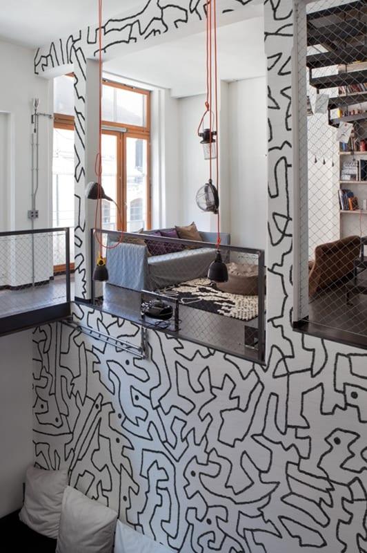 moderne wohnzimmer gestalten- moderne pendelleuchten-mezzanine interior design