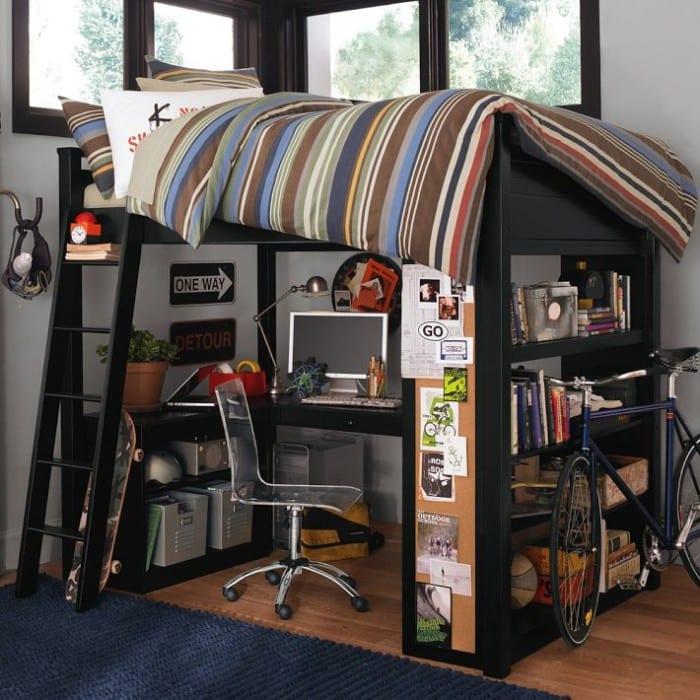 Hochbett Mit Bücherregalen Und Schreibtisch