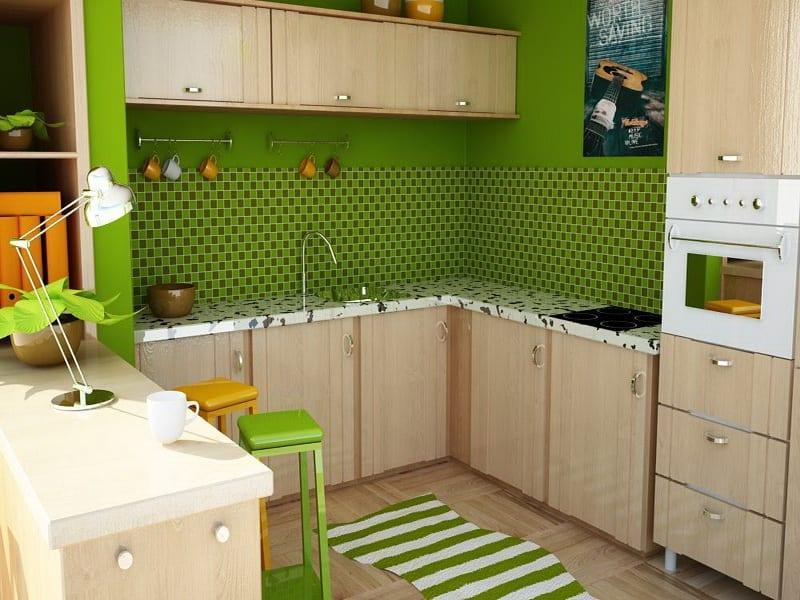 küche grün-küchenschränke holz-wandfarbe grün-barhocker gelb und grün