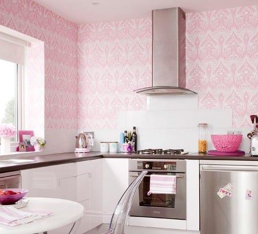 moderne küche einrichtung mit tapete in rosa und weiße küche wandfliesen