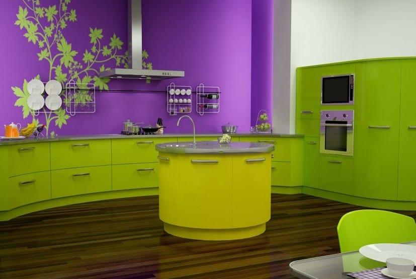 moderne küche grün mit grünem kochinsel rund