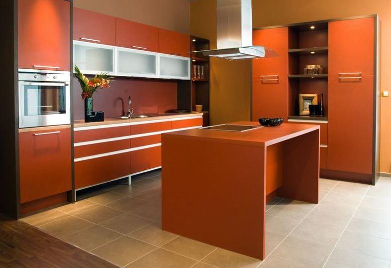 moderne küche orange mit kochinsel orange-küchenschränke orange