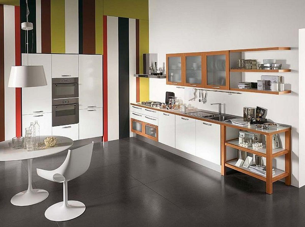 wandmuster küche-küche weiß und holz-weißer esstisch rund und pendelleuchte weiß