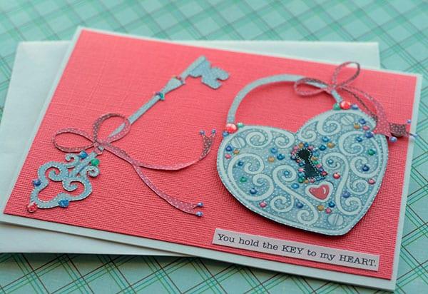 valentinstag karte mit schlußel