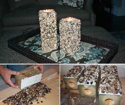 DIY kerzenhalter aus holzklotz und steinen