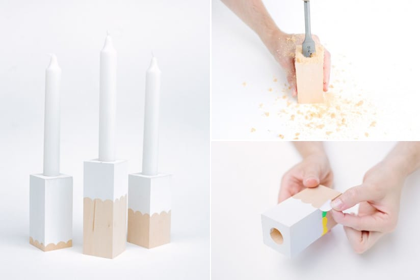 DIY Kerzenhalter aus Holz