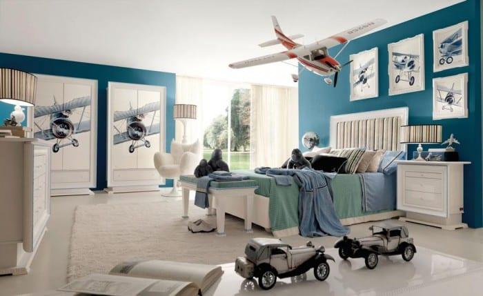 kinderzimmer farbgestaltung in blau und weiß-wandfarbe blau