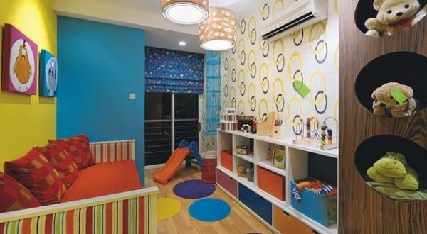kinderzimmer streichen-blaue und gelbe wand - freshouse - Kinderzimmer Blau Gelb Streichen