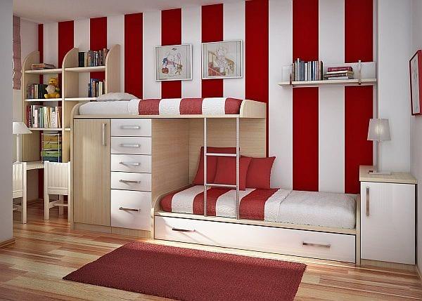 Kinderzimmer mit Hochbett- holzmöbel fürs kindezimmer-weiße wand mit roten streifen