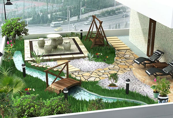 Gartenidee in der Stadt - Garten mit wasser und kleiner Holzbrücke-Terrassengestaltung mit  Natursteingang und Holzschaukel