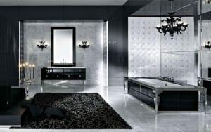 luxus badezimmer schwarz weiß mit schwarzer freistehender ...
