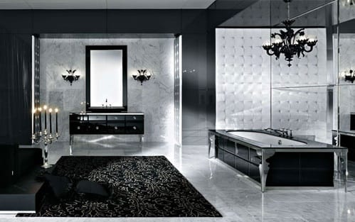 badezimmer mit schwarzen wänden und weißem Marmor-badezimmer teppich schwarz-rechteckige badewanne mit schwarzen fliesen-badezimmer spiegelwand