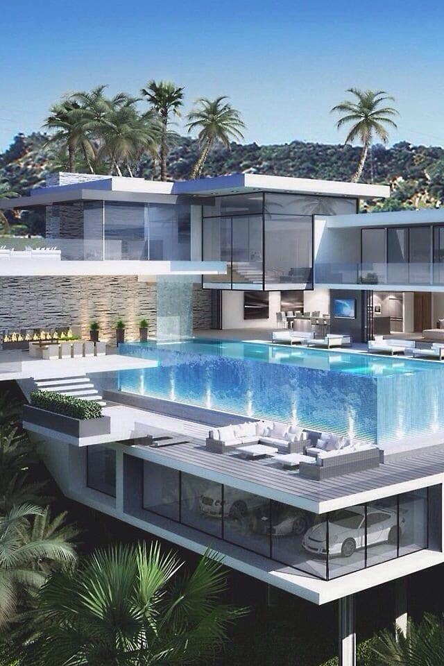 minimalistisches haus mit swimming pool und dachterrasse-terrassengestaltung mit naturstein und wasserfall