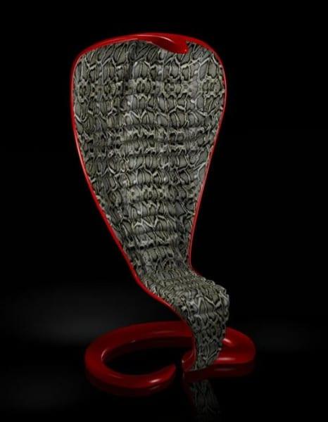 designer möbel- roter sessel mit schlangenhaut