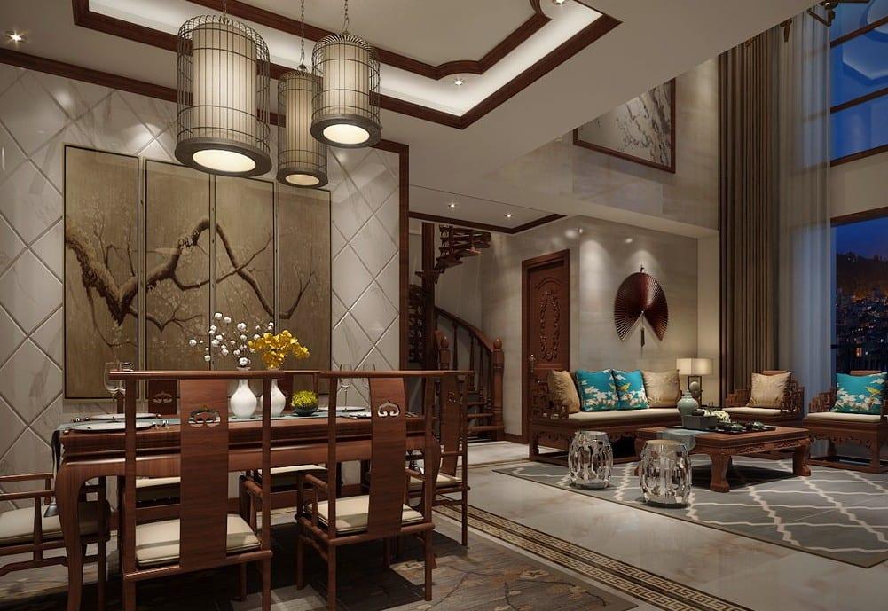 modernes wohnzimmr mit holzmöbeln-deckengestaltung-gardinen dekorationsvorschläge raumhoch-natursteinboden mit teppich