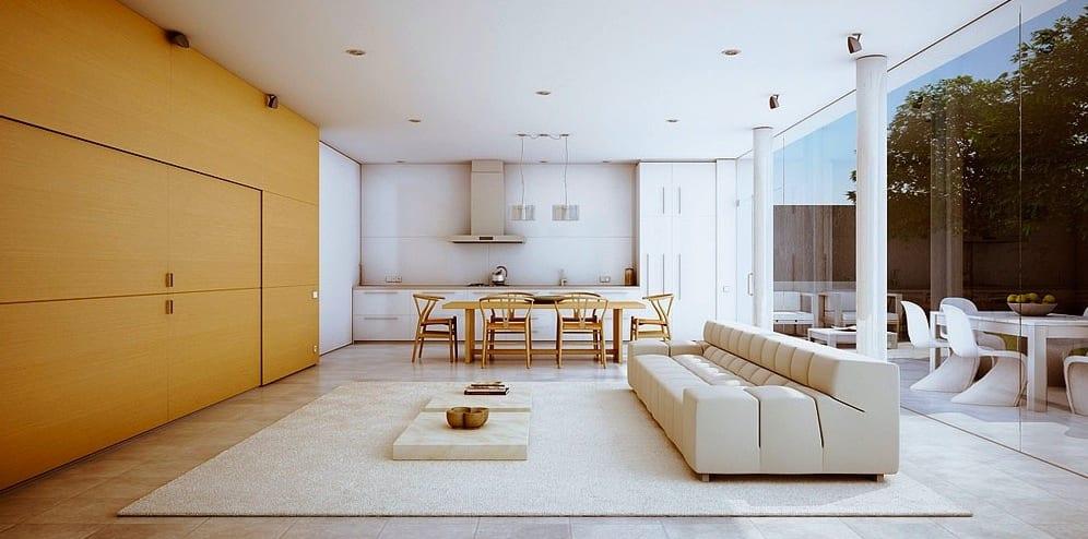 küche weiß-modernes wohnwand vesteckt-gelbe wand-moderne seats and sofas