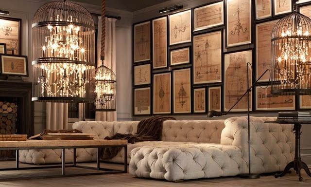 modernes wohnzimmer mit ledersofa weiß und pendelleuchten in keffigen